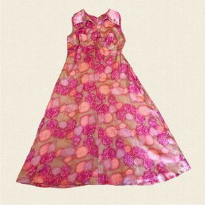 Vintage 60's - 70's floral maxi dress big collar